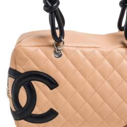 Chanel Beige/Black Quilted Leather Ligne Cambon Bag
