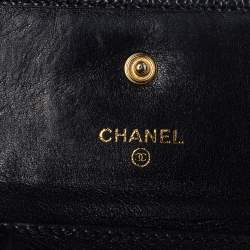 Chanel Black Caviar Leather Timeless CC Flap Compact Wallet