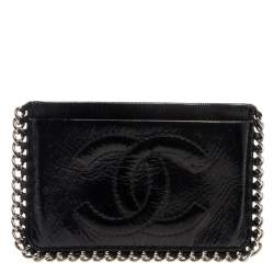 Chanel Black Patent Leather CC Chain Around Card Case