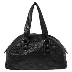 Chanel Black Quilted Leather Cloudy Bundle Bowler Bag