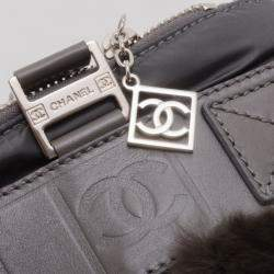 Chanel Grey Leather and Fur Logo Tote