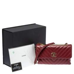 Chanel Red Chevron Leather CC Trendy Flap Bag