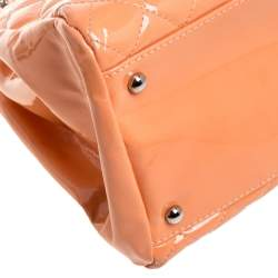 Chanel Peach Quilted Patent Leather Medium Just Mademoiselle Bowler Bag