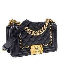 Chanel Black Crinkled Leather Small Chain Boy Flap Bag
