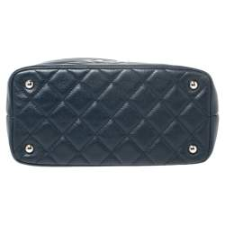 Chanel Blue Quilted Caviar Leather Timeless CC Soft Shopper Tote