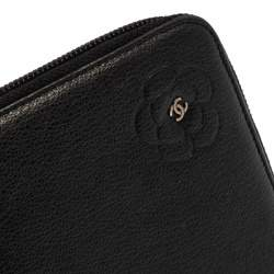 Chanel Black Leather CC Camellia Embossed Zip Around Wallet
