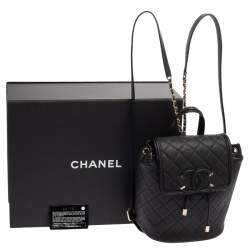 Chanel Black Quilted Caviar Leather Filigree Backpack