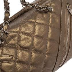 Chanel Metallic Bronze Quilted Leather Cotton Club Ligne Bowler Bag