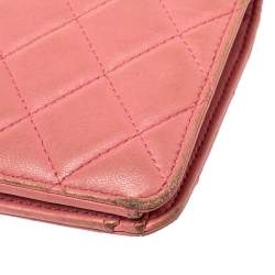 Chanel Pink Quilted Leather L Yen Continental Wallet