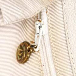 Chanel White Caviar Leather Logo Shoulder Bag