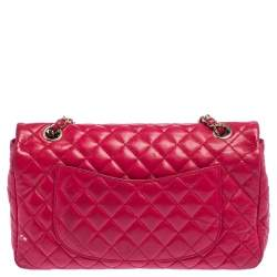 Chanel Fuchsia Quilted Leather Small Valentine Charm Single Flap Bag