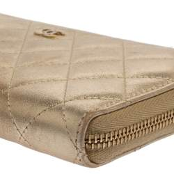 Chanel Gold Quilted Leather CC Zip Around Wallet