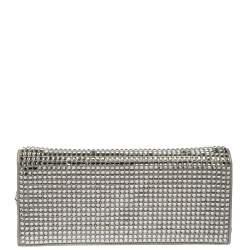 Chanel Silver Crystal Embellished Paris-Dubai Chain Clutch