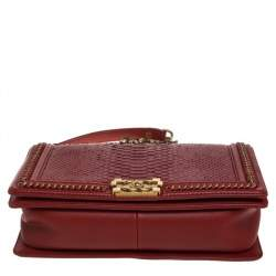 Chanel Red Python New Medium Boy Flap Top Handle Bag