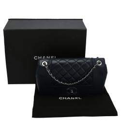 Chanel Navy Blue Caviar Leather Quilted Medium Boy Double Flap Bag
