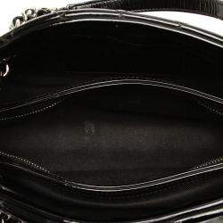 Chanel Black Patent Leather Just Mademoiselle Medium Bowling Bag