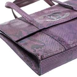 Chanel Purple Iridescent Python Vintage CC Flap Tote