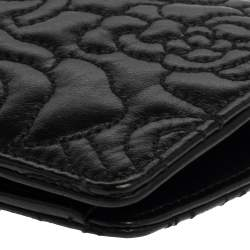 Chanel Black Leather Camellia 5 CC Bifold Wallet