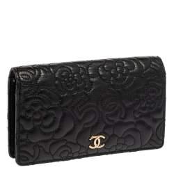 Chanel Black Leather Camellia 5 CC Bifold Wallet
