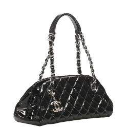 Chanel Black Patent Leather Mademoiselle Bowling Bag