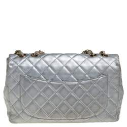 Chanel Silver Quilted Leather Jumbo Classic Single Flap Bag