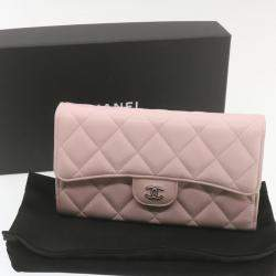 Chanel Pink Lambskin Quilted Long Wallet