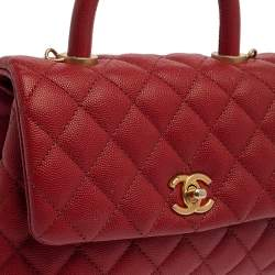 Chanel Orange Quilted Caviar Leather Mini Coco Top Handle Bag