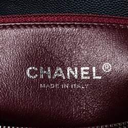 Chanel Grey/Burgundy Caviar Leather and Lizard Medium Coco Top Handle Bag