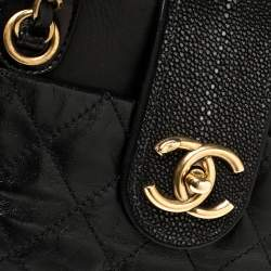 Chanel Black Quilted Glazed Leather and Stingray CC Bindi Tote