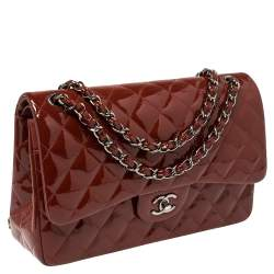 Chanel Red Quilted Patent Leather Jumbo Classic Double Flap Bag