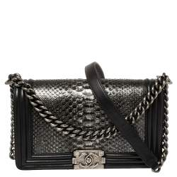 Chanel Black/Silver Python and Leather Medium Boy Flap Bag