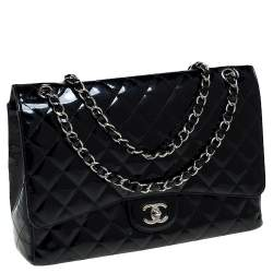 Chanel Black Quilted Patent Leather Maxi Classic Single Flap Bag