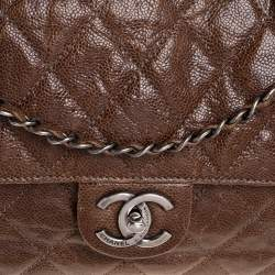 Chanel Brown Quilted Glazed Caviar Leather Jumbo Crave Flap Bag