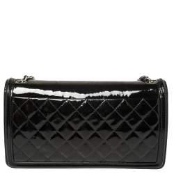 Chanel Black/White Striped Plexiglass and Patent Leather East/West Boy Brick Flap Bag