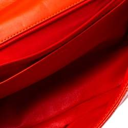 Chanel Orange Chevron Patent Leather Maxi Classic Single Flap Bag