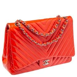 Chanel Orange Chevron Patent Leather Maxi Classic Single Flap Bag