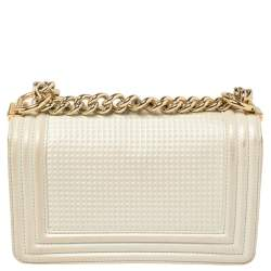 Chanel White Cube Embossed Shimmer Leather Small Chain Boy Flap Bag