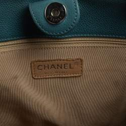 Chanel Blue Quilted Caviar Leather Petite Shopping Tote