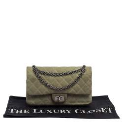 Chanel Green Caviar Leather Reissue 225 Double Flap Bag