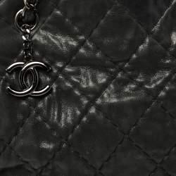 Chanel Dark Grey Shimmer Leather Large Just Mademoiselle Bowling Bag