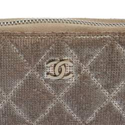 Chanel Metallic Beige Quilted Leather Zip Around Coin Purse