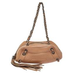 Chanel Beige Quilted Leather Tassel Shoulder Bag