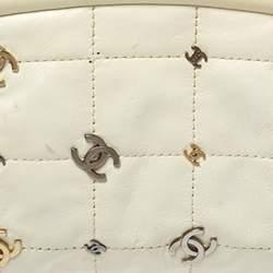 Chanel Cream Leather CC Punk Timeless Clutch