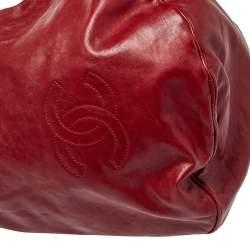 حقيبة هوبو شانيل روك أند شاين جلد أحمر داكن