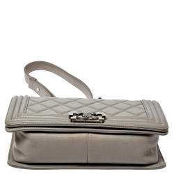 Chanel Grey Quilted Leather Medium Boy Flap Bag