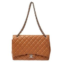 Chanel Tan Quilted Caviar Leather Maxi Classic Double Flap Bag