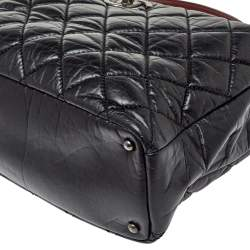 Chanel Black/Red Quilted Aged Leather Large Portobello Top Handle Bag