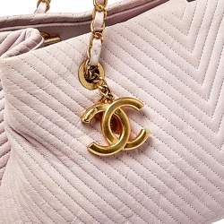 Chanel Pink Chevron Leather Medallion Charm Tote