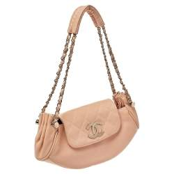 Chanel Peach Leather Accordion Flap Hobo