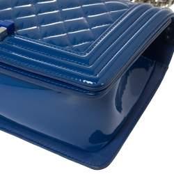 Chanel Blue Quilted Patent Leather Medium Plexiglass Boy Flap Bag
